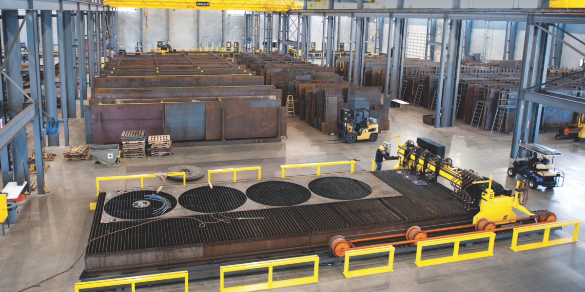Plate inventories have been coming down amid fears of further price declines. (Photo courtesy Reliance Steel & Aluminum Co.)